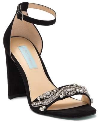 Betsey Johnson Dany Embellished Suede Block Heel Sandal