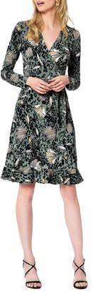 Leota Floral Long Sleeve Faux Wrap Dress