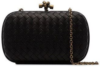 Bottega Veneta Black Knot Detail Woven Leather Clutch Bag