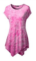 Wowforu Womens Short Sleeve All Over Tie Dye Handkerchief Hem Tunic