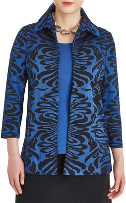 Misook Ruffle Collar Damask Knit Jacket