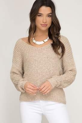 She + Sky Twist Back Sweater