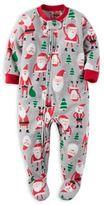 Carter's Zip-Front Santa Fleece Footed Pajama in Grey