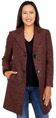 Sam Edelman Notch Collar Striped Twill Coat (Burgundy) Women's Clothing