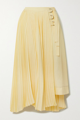 Proenza Schouler Asymmetric Pleated Woven Wrap Skirt - Yellow