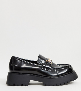 ASOS DESIGN Wide Fit Monster chunky loafers in black
