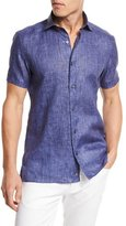 Ermenegildo Zegna Over-Dyed Linen Short-Sleeve Sport Shirt, Navy