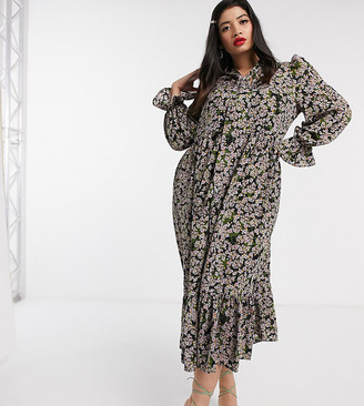 NEVER FULLY DRESSED Plus long sleeve trapeze maxi dress with neck tie in sage green floral