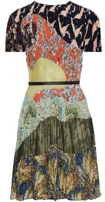 Valentino Pleated Printed Silk And Lace Mini Dress