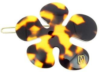Alexandre de Paris Hair Slide Ballpoint Flower Shaped Brown 5Cm