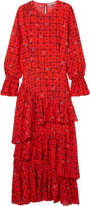 Preen Line Amina Tiered Floral-print Crepe De Chine Maxi Dress
