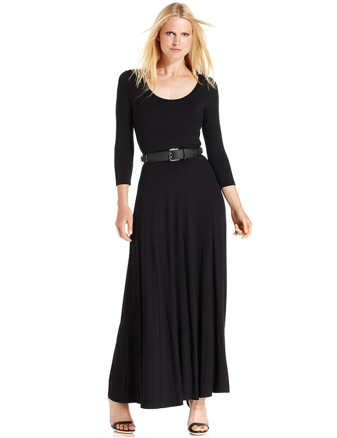 Calvin Klein Dress, Three-Quarter-Sleeve Belted Maxi