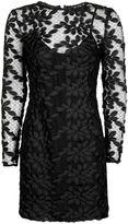 Topshop Long Sleeve Leaf Applique Dress