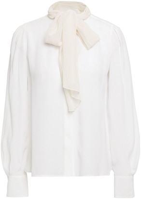 See by Chloe Pussy-bow Crepon And Chiffon Blouse
