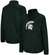 Colosseum Women's Heathered Green Michigan State Spartans Marled Side Snap Pullover Jacket