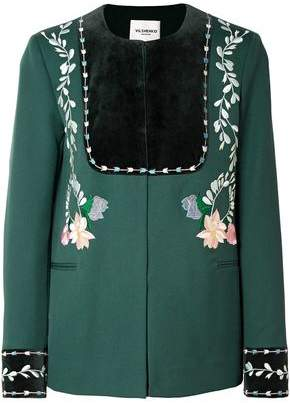 Vilshenko Rosie Velvet-paneled Embroidered Wool-twill Jacket
