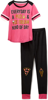 Rene Rofe Girl Girls' Sleep Bottoms CONVEROTHR - Pink & Black 'Pizza And Ice Cream' Pajama Set - Girls