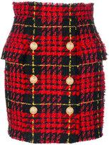 Balmain tartan tweed skirt - women - Cotton/Acrylic/Polyamide/Wool - 36