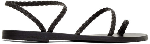 Ancient Greek Sandals Black Braided Leather Eleftheria Sandals