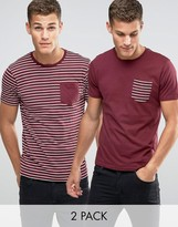 Brave Soul 2 Pack Pocket T-Shirt in Stripe