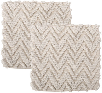 Gdfstudio Jack Hand-Loomed Boho Pillow Cover, Cream, Set of 2