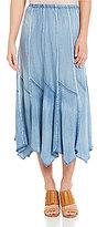 Chelsea & Theodore Tencel Seamed Midi Skirt