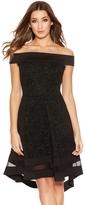 Quiz Black Glitter Bardot Dip Hem Mesh Dress