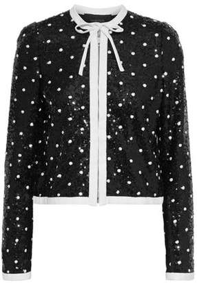 Giambattista Valli Cropped Sequined Swiss-dot Tulle Top