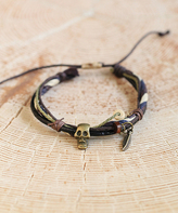 Nautilus Goldtone & Brown Skull Multi-Strand Leather Bracelet