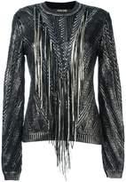 Roberto Cavalli metallic fringed jumper