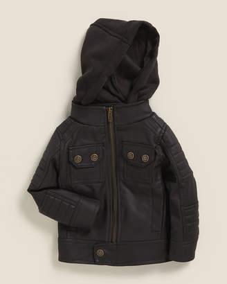 Urban Republic Infant Boys) Dark Brown Textured Faux Leather Moto Jacket