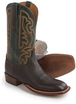 "Lucchese Horseman Cowboy Boots - 12"", Bison Leather, Square Toe (For Men)"