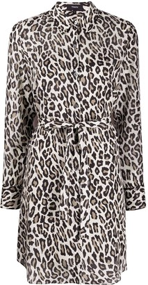 Theory Leopard Print Shirt Dress