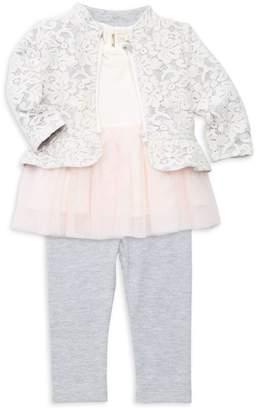 Miniclasix Baby Girl's 3-Piece Jacket Top & Pants Set
