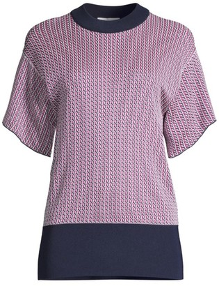 BOSS Fannah Geometric Jacquard Short-Sleeve Sweater