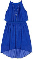 Amy Byer Glitter High-Low Popover Dress & Necklace Set, Big Girls (7-16)