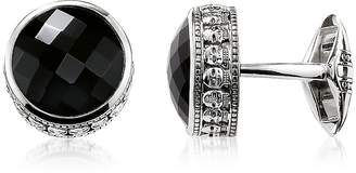Thomas Sabo Blackened 925 Sterling silver Skull Cufflinks w/Onyx