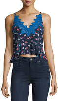 Rebecca Taylor Sakura Floral-Print Lace-Trim Camisole, Navy