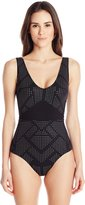Calvin Klein Women's Heat Seal One Piece Swimsuit with Mesh Insert