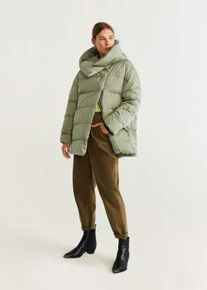 MANGO Hood quilted coat pastel green - XXS - Women