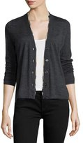 Burberry Twisted-Front Merino Cardigan, Gray