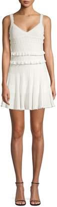 Herve Leger Crochet V-Neck Fit-&-Flare Dress