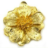 Kenneth Jay Lane Gold Plated Satin Flower Brooch