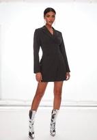 Missguided Black Pinstripe Corset Detail Blazer Dress