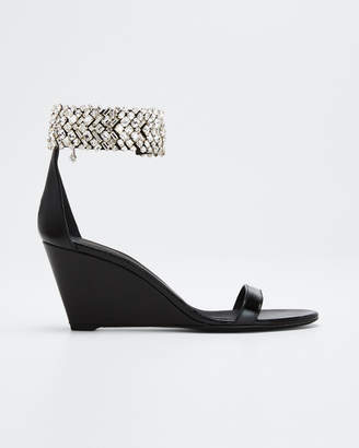 Giuseppe Zanotti 70mm Jet Wedge Sandals With Crystal Ankle Strap