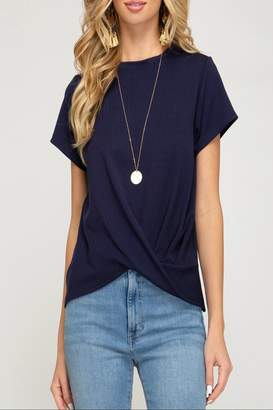 She + Sky Pleated Twist-Front Top
