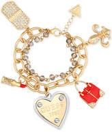 GUESS Gold-Tone Double Strand Pave Charm Bracelet