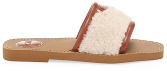 Chloé Woody Shearling & Leather Flat Sandals