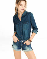Express 2 Inch Distressed Low Rise Cutoff Denim Shorts
