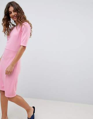 B.young 3/4 Sleeve Jersey Dress-Pink